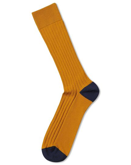 Yellow cotton rib socks