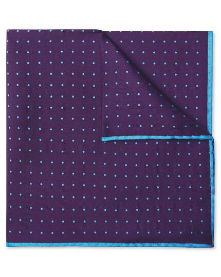 Purple and sky blue spot print pocket square