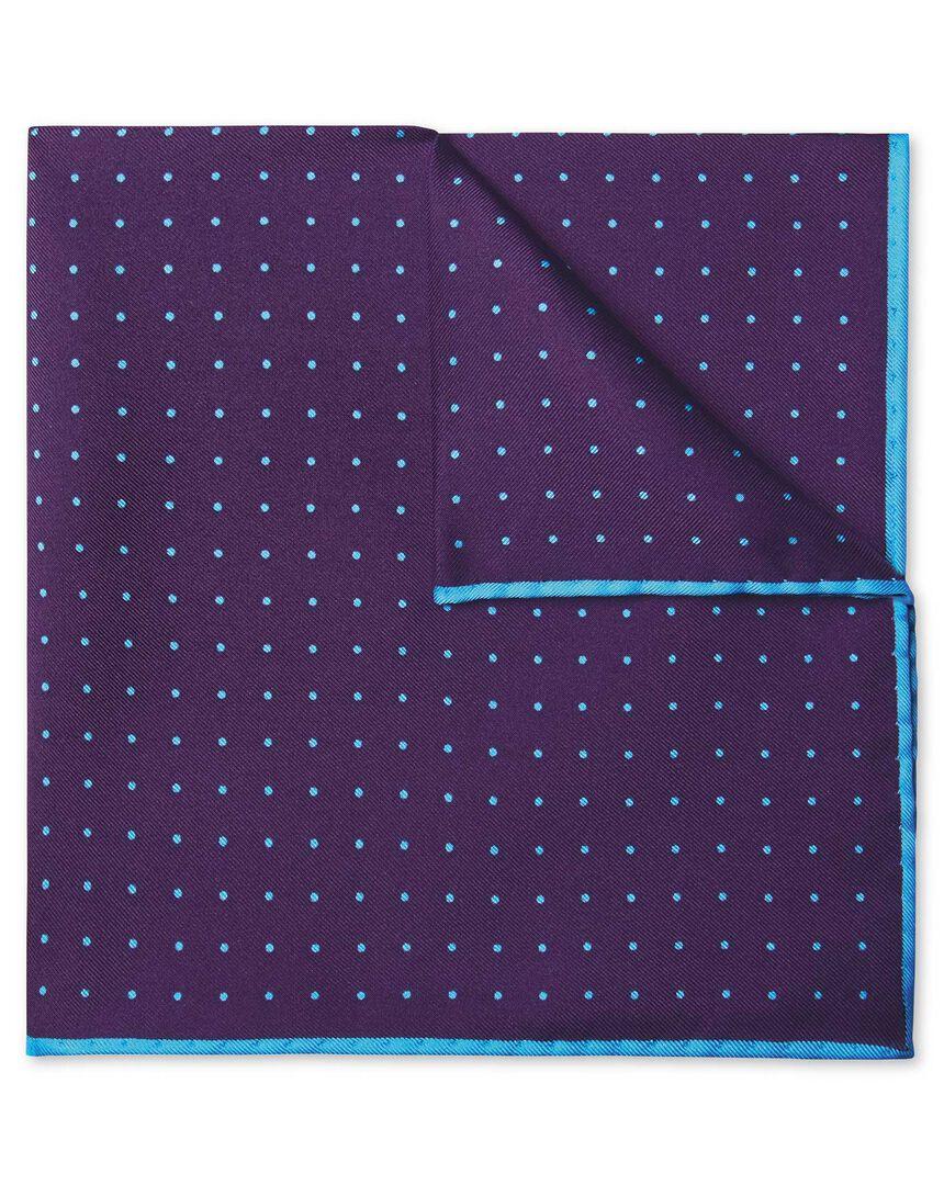 Purple and sky spot print pocket square