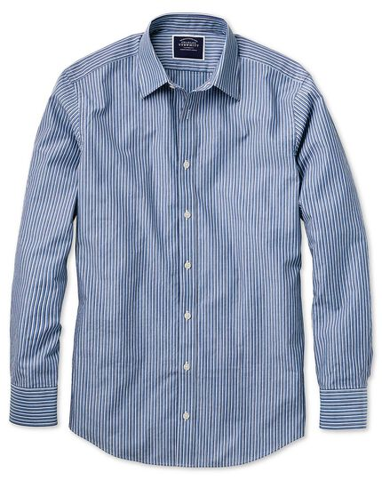 Classic fit blue stripe soft washed shirt