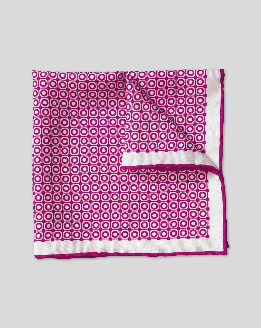 Geometric Circle Print Pocket Square - Berry