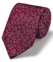 Burgundy and pink ditsy floral classic tie