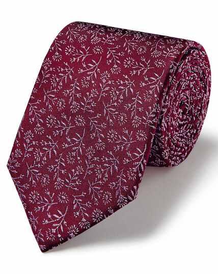 Bordeauxrood/roze klassieke gebloemde stropdas