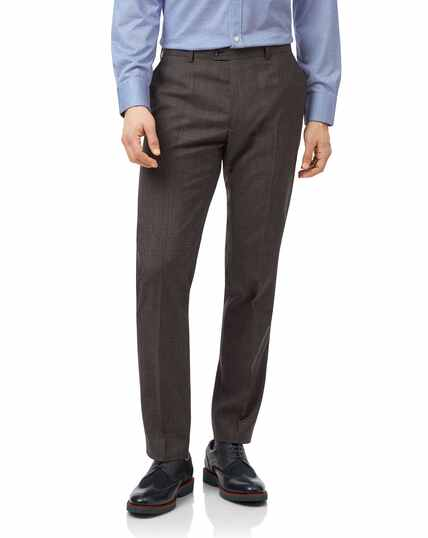 Brown Prince of Wales check slim fit suit pants