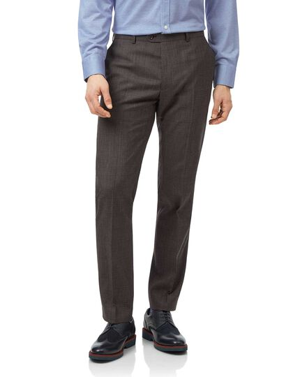 Brown Prince of Wales check slim fit suit trouser