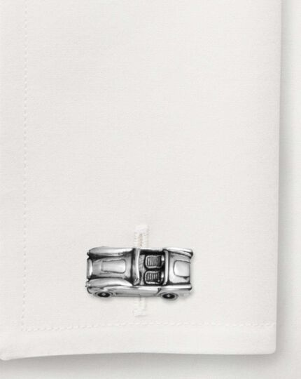 Silver classic car round cufflinks