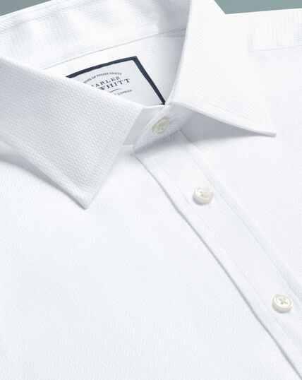 Slim fit Egyptian cotton chevron white shirt