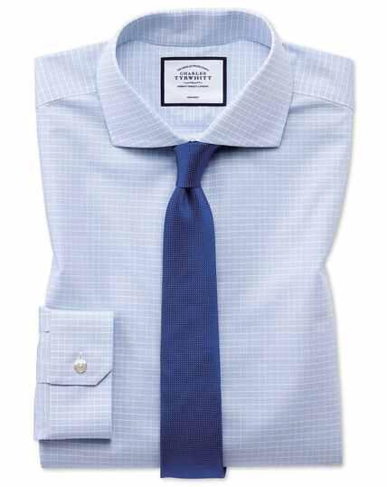 Super slim fit non-iron 4-way stretch sky blue check shirt