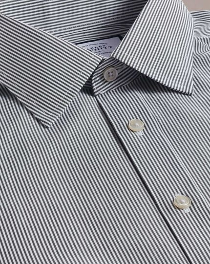 Slim fit non-iron black Bengal stripe shirt