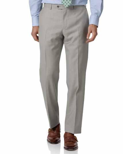 Light grey classic fit twill business suit Pants