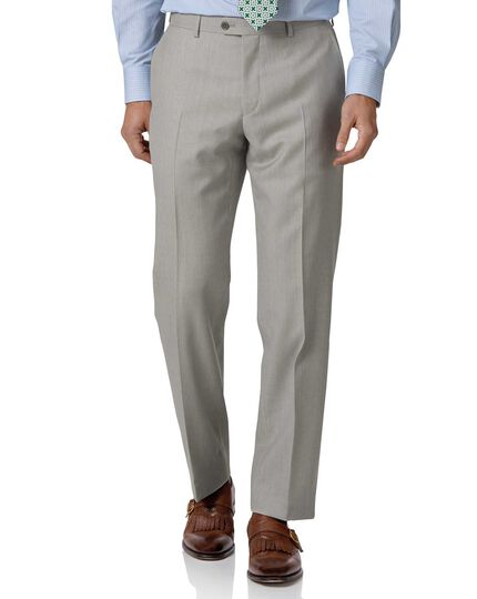 Light grey classic fit twill business suit Pants