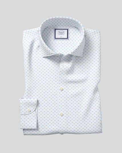 Bügelfreies Hemd mit Business-Casual-Kragen und Libellen-Print - Himmelblau
