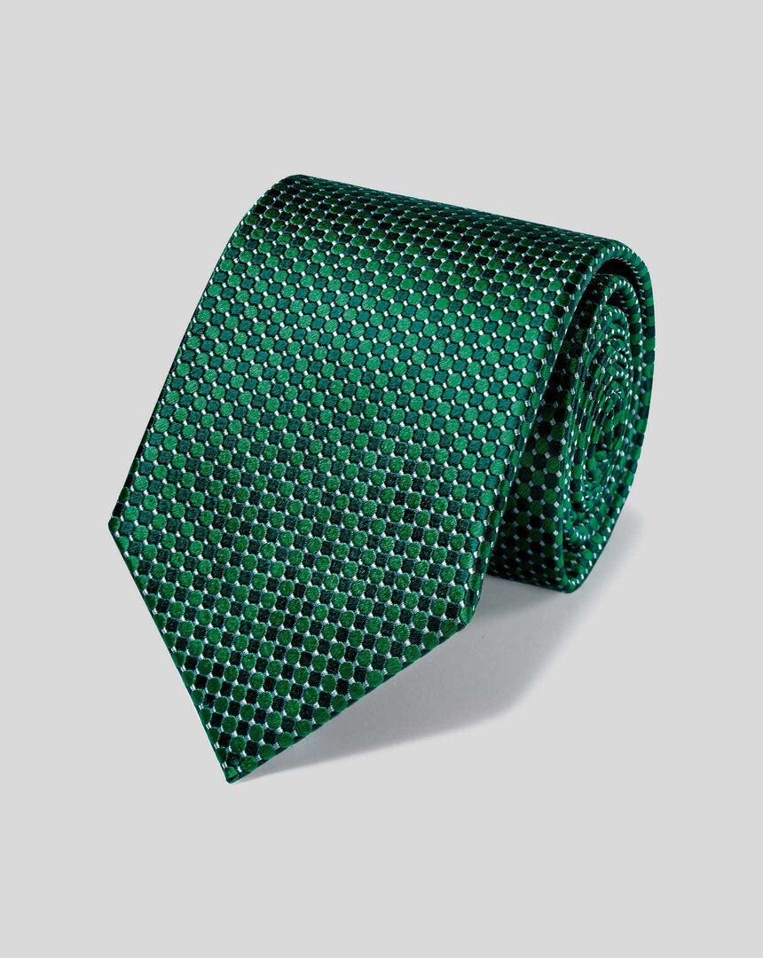 Stain Resistant Silk Classic Tie - Green