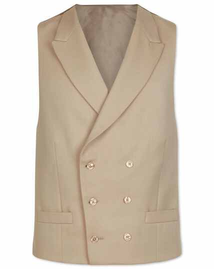 Natural adjustable fit buff wool morning suit waistcoat