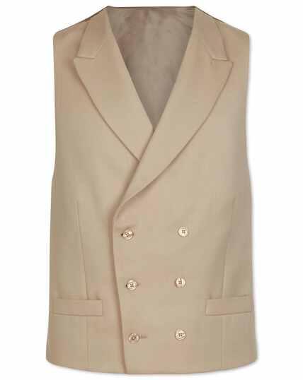 Natural adjustable fit buff wool morning suit vest