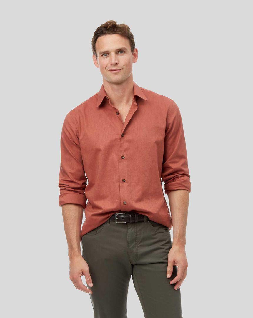 Strukturiertes Hemd mit Kent Kragen - Orange