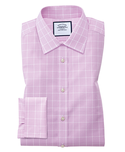 Slim fit non-iron Prince of Wales pink shirt