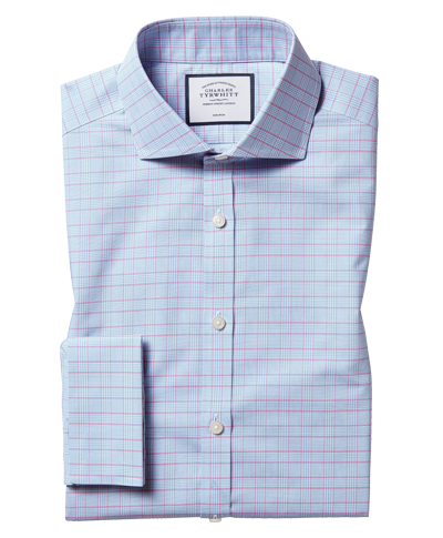 Cutaway Collar Non-Iron Prince Of Wales Check Shirt - Blue & Pink