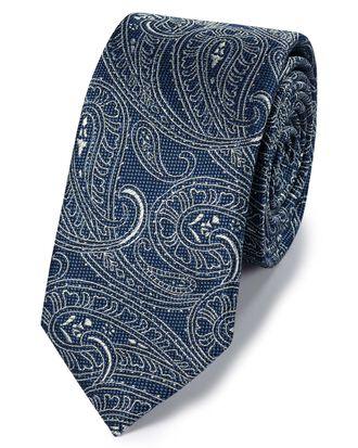 Cravate slim classique bleue en soie et lin à motif cachemire
