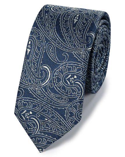 Mid blue silk linen slim paisley classic tie