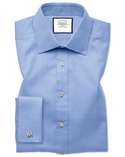 Slim fit sky blue fine herringbone shirt