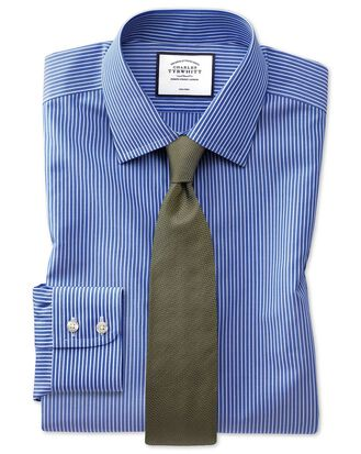 Slim fit non-iron stripe blue and white shirt