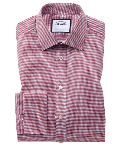 Classic fit red small puppytooth Egyptian cotton shirt