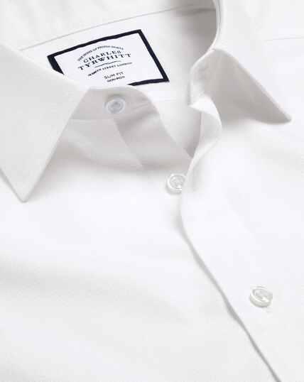 Bügelfreies Hemd mit Mini-Fischgrätmuster - Weiß