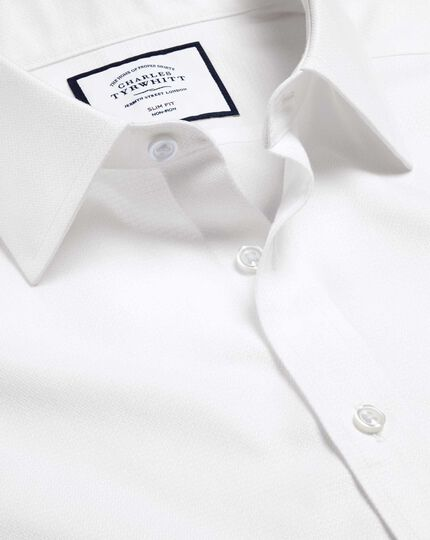 Non-Iron Mini Herringbone Shirt - White
