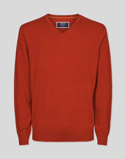 Merino V-neck Jumper - Orange