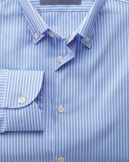 Classic fit  button-down business casual non-iron sky blue and white stripe shirt