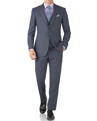 Light blue classic fit sharkskin travel suit