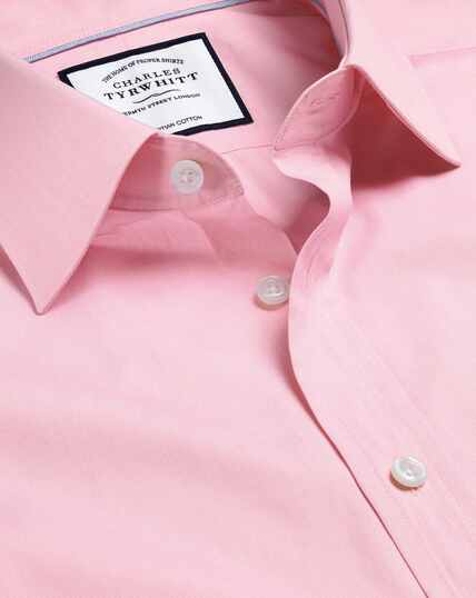 Semi-Cutaway Collar Egyptian Cotton Poplin Shirt - Pink
