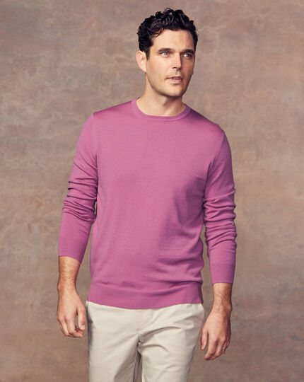 Merino Crew Neck Jumper - Light Pink