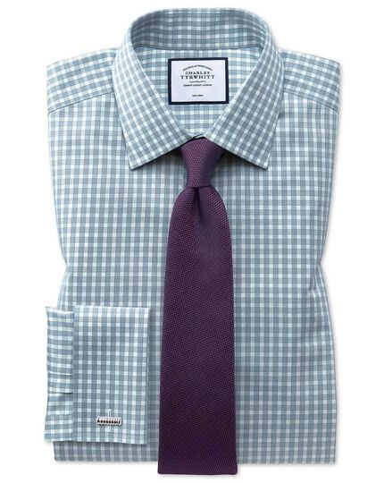 Classic fit non-iron twill gingham teal shirt