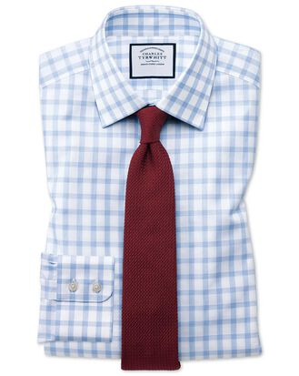 Classic fit windowpane check sky blue shirt