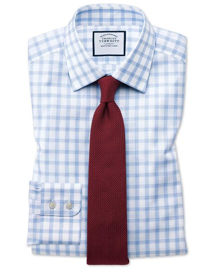 Classic fit windowpane check sky blue shirt