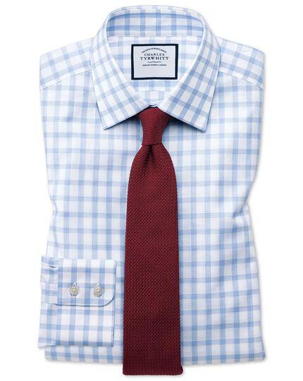 Chemise bleu ciel coupe droite à carreaux simples