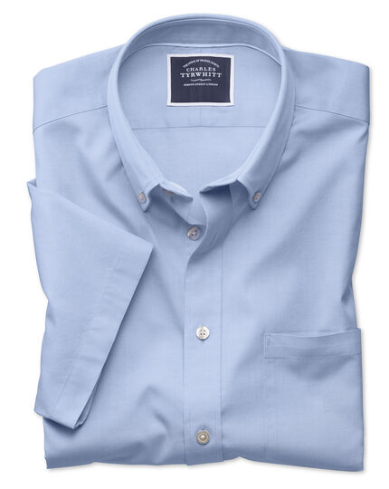 Slim fit button-down washed Oxford short sleeve sky blue shirt
