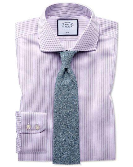 Slim fit non-iron shadow stripe purple shirt