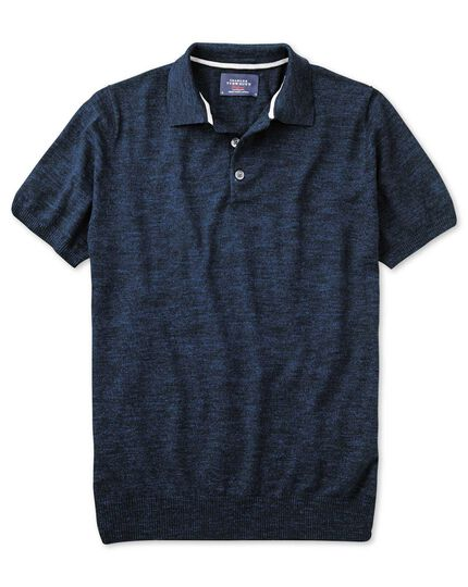 Navy blue heather short sleeve polo collar sweater