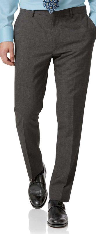 Pantalon de costume business gris en laine slim fit