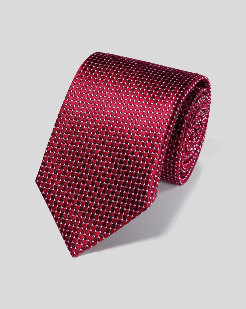 Stain Resistant Silk Classic Tie - Red