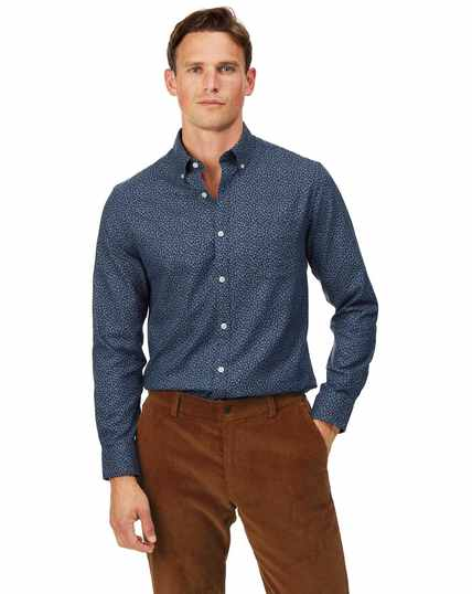 Extra slim fit navy print soft wash non-iron twill shirt