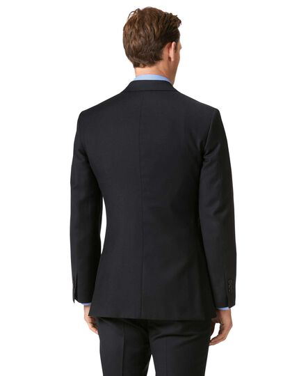 Black slim fit twill business suit jacket