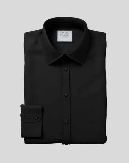 Classic Collar Non-Iron Poplin Shirt  - Black