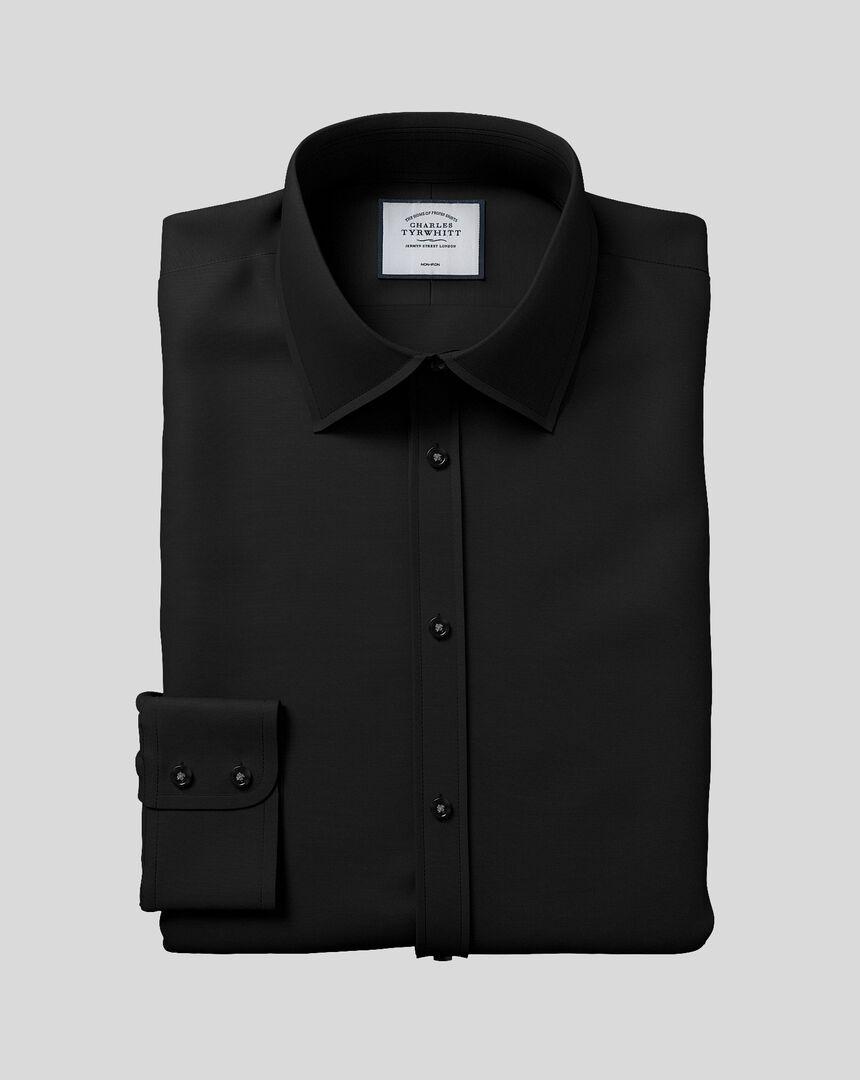 Bügelfreies Popeline-Hemd mit Kent-Kragen - Schwarz