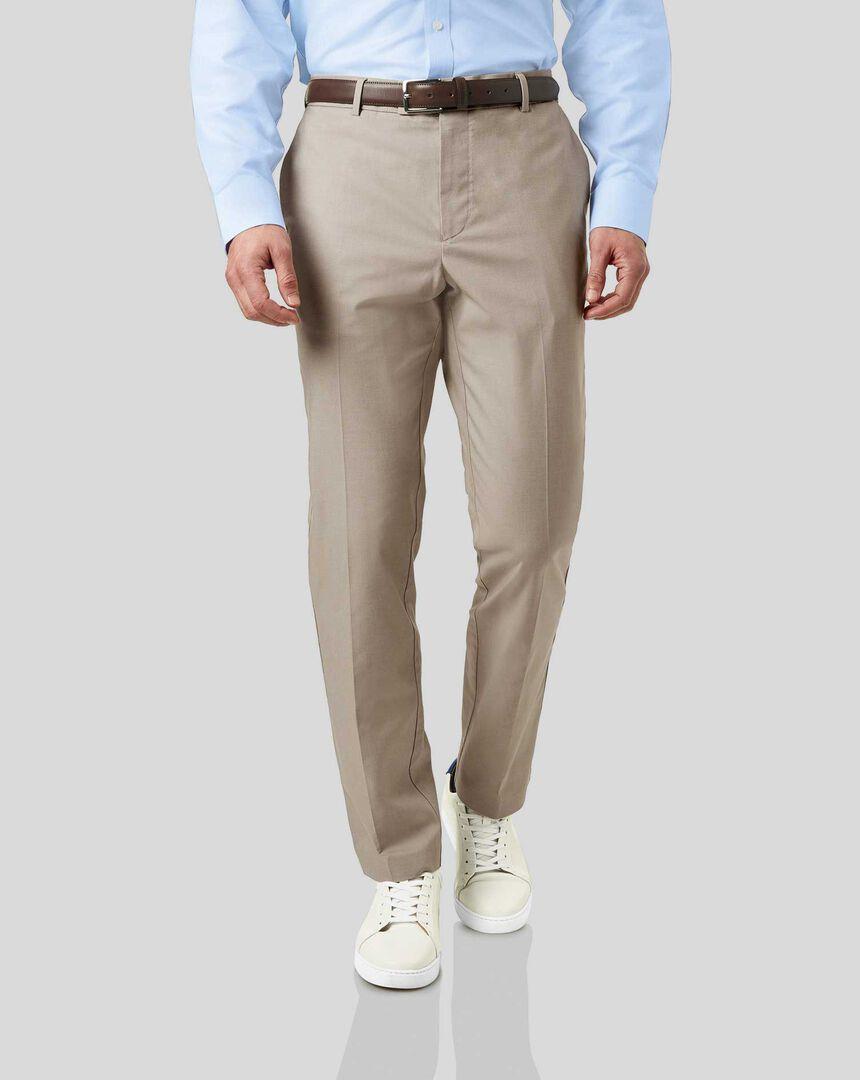 Non-Iron Arrow Weave Stretch Trousers - Stone