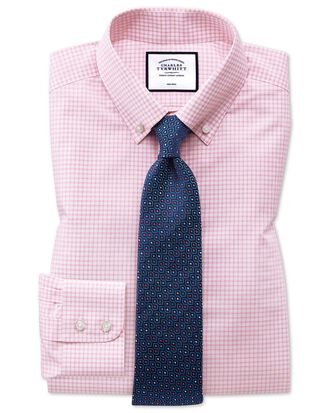 Slim fit button-down non-iron pink windowpane check shirt