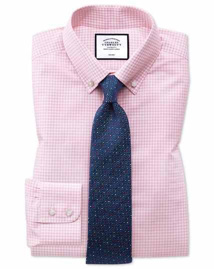 Bügelfreies Slim Fit Button-down-Hemd mit Windowpane-Karos in Rosa